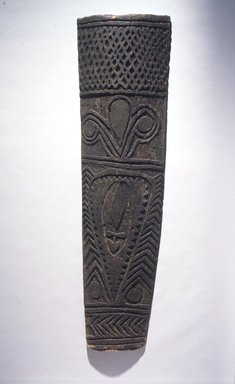 Kwoma. <em>Shield</em>, 20th century. Wood, 55 1/2 x 15 1/2 x 3 1/4in. (141 x 39.4 x 8.3cm). Brooklyn Museum, Gift of Malcolm and Bryce Kirk, 1993.176. Creative Commons-BY (Photo: Brooklyn Museum, 1993.176_transpc003.jpg)