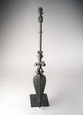 Ogoni. <em>Paddle with Two Figural Carvings</em>, late 19th or early 20th century. Wood, 47 x 6 1/2 x 4 1/8 in. (119.4 x 16.5 x 10.5 cm). Brooklyn Museum, Gift of Mr. and Mrs. Lee Lorenz, 1993.179.5. Creative Commons-BY (Photo: Brooklyn Museum, 1993.179.5_transp525.jpg)