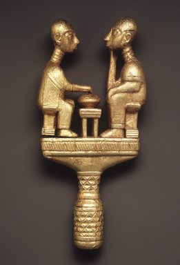 Akan. <em>Staff Finial</em>, late 19th or early 20th century. Wood, gold leaf, 12 1/2 x 5 3/4 x 2 1/4 in.  (31.8 x 14.6 x 5.7 cm). Brooklyn Museum, Gift of Bill and Gale Simmons, 1993.182.3. Creative Commons-BY (Photo: Brooklyn Museum, 1993.182.3_transpc003.jpg)