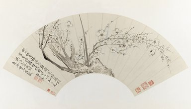 Yun Shouping (Chinese, 1633-1696). <em>Plum Blossoms</em>, 17th century. Fan painting mounted as album leaf, ink and light color on paper, Image: 7 x 21 1/4 in. (17.8 x 54 cm). Brooklyn Museum, Gift of Mr. and Mrs. Willard G. Clark in honor of Dr. Bertram H. Schaffner, 1993.187. Creative Commons-BY (Photo: Brooklyn Museum, 1993.187_IMLS_PS3.jpg)