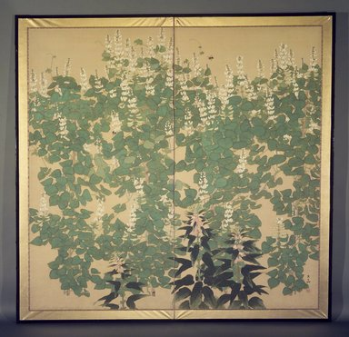 Kagawa Toka (Japanese, born 1886, active 1919-1933). <em>White Sweet Peas, Other Pink Flowers, and Bees</em>, 1912-1926. Two-fold screen; colors on silk, 65 5/8 x 68in. (166.7 x 172.7cm). Brooklyn Museum, Gift of the Collection of Liza Hyde, 1993.190. Creative Commons-BY (Photo: Brooklyn Museum, 1993.190.jpg)