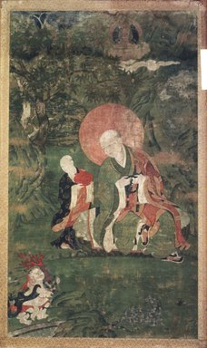 <em>Arhat Kanakavatsa (One of Nine Tibetan Ritual Paintings of Arhats)</em>, 17th century. Opaque watercolor on silk mounted on a paper and wood frame, Each painting: 43 x 25 1/2 in. Brooklyn Museum, Gift of Rosemarie and Leighton R. Longhi, 1993.192.10 (Photo: Image courtesy of the Shelley and Donald Rubin Foundation, George Roos,er, 1993.192.10.jpg)