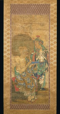 <em>Arhat with Attendant, from a series of 16 Rakan</em>, ca. 1400. Hanging scroll; ink, color and kirikane (cut gold leaf) on silk, overall, 68 5/16 x 22 3/8 in. Brooklyn Museum, Gift of Rosemarie and Leighton R. Longhi, 1993.192.1 (Photo: Brooklyn Museum, 1993.192.1_IMLS_SL2.jpg)