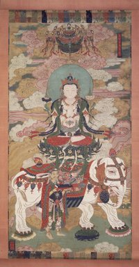<em>Bodhisattva Samantabhadra</em>, late 18th-early 19th century. Hanging scroll; ink, color, cut gold leaf on rough silk, overall, 100 x 48 1/2 in. Brooklyn Museum, Gift of Rosemarie and Leighton R. Longhi, 1993.192.2 (Photo: Brooklyn Museum, 1993.192.2_transp4510.jpg)