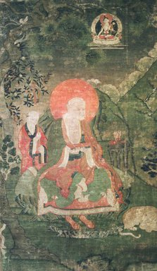 <em>Arhat Gopaka (One of Nine Tibetan Ritual Paintings of Arhats)</em>, 17th century. Opaque watercolor on silk mounted on a paper and wood frame, Each painting: 43 x 25 1/2in. Brooklyn Museum, Gift of Rosemarie and Leighton R. Longhi, 1993.192.3 (Photo: Image courtesy of the Shelley and Donald Rubin Foundation, George Roos,er, 1993.192.3.jpg)