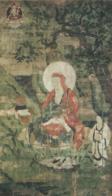 <em>Arhat Ajita (One of Nine Tibetan Ritual Paintings of Arhats)</em>, 17th century. Opaque watercolor on silk mounted on a paper and wood frame, Each painting: 43 x 25 1/2 in. Brooklyn Museum, Gift of Rosemarie and Leighton R. Longhi, 1993.192.4 (Photo: Image courtesy of the Shelley and Donald Rubin Foundation, George Roos,er, 1993.192.4.jpg)