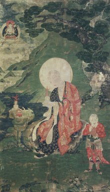 <em>Arhat Abheda (One of Nine Tibetan Ritual Paintings of Arhats)</em>, 17th century. Opaque watercolor on silk mounted on a paper and wood frame, Each painting: 43 x 25 1/2 in. Brooklyn Museum, Gift of Rosemarie and Leighton R. Longhi, 1993.192.5 (Photo: Image courtesy of the Shelley and Donald Rubin Foundation, George Roos,er, 1993.192.5.jpg)