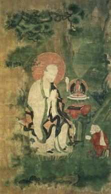 <em>Arhat Angaja (One of Nine Tibetan Ritual Paintings of Arhats)</em>, 17th century. Opaque watercolor on silk mounted on a paper and wood frame, Each painting: 43 x 25 1/2 in. Brooklyn Museum, Gift of Rosemarie and Leighton R. Longhi, 1993.192.6 (Photo: Image courtesy of the Shelley and Donald Rubin Foundation, George Roos,er, 1993.192.6.jpg)