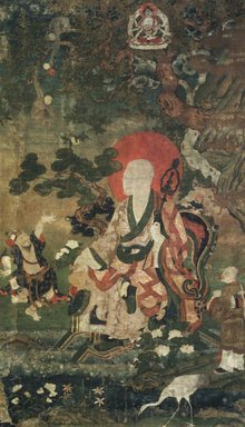 <em>Arhat Nagasena (One of Nine Tibetan Ritual Paintings of Arhats)</em>, 17th century. Opaque watercolor on silk mounted on a paper and wood frame, Each painting: 43 x 25 1/2 in. Brooklyn Museum, Gift of Rosemarie and Leighton R. Longhi, 1993.192.8 (Photo: Image courtesy of the Shelley and Donald Rubin Foundation, George Roos,er, 1993.192.8.jpg)