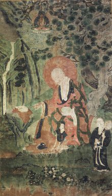 <em>Arhat Pindolabharadvaja (One of Nine Tibetan Ritual Paintings of Arhats)</em>, 17th century. Opaque watercolor on silk mounted on a paper and wood frame, Each painting: 43 x 25 1/2in. Brooklyn Museum, Gift of Rosemarie and Leighton R. Longhi, 1993.192.9 (Photo: Image courtesy of the Shelley and Donald Rubin Foundation, George Roos,er, 1993.192.9.jpg)