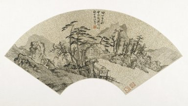 Xie Shichen (Chinese, 1487-ca. 1567). <em>Landscape</em>, 1542. Fan; ink on gold dusted paper, Mounted: 13 x 24 3/8 in. (33 x 61.9 cm). Brooklyn Museum, Gift of H. Christopher Luce, 1993.193. Creative Commons-BY (Photo: Brooklyn Museum, 1993.193_PS2.jpg)