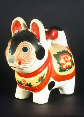 <em>Inu-Hariko (Papier-mache Puppy Doll)</em>, ca. 1950. Papier-mache, rice paste, whitewash, applied color, 9 x 9 in. (22.9 x 22.9 cm). Brooklyn Museum, Gift of Dr. and Mrs. John P. Lyden, 1993.194.3. Creative Commons-BY (Photo: Brooklyn Museum, 1993.194.3.jpg)