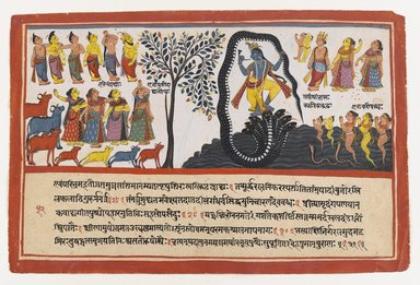 Indian. <em>Krishna Conquers the Serpent Kaliya, Page from a Dispersed Bhagavata Purana Series</em>, ca. 1775. Opaque watercolor and gold on paper, sheet: 9 3/4 x 14 5/8 in.  (24.8 x 37.1 cm). Brooklyn Museum, Gift of Elvira and Gursharan Sidhu, 1993.199 (Photo: Brooklyn Museum, 1993.199_IMLS_PS4.jpg)
