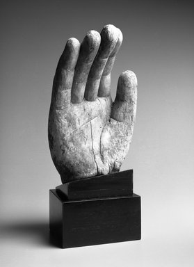 <em>Hand from a Buddhist Image</em>, ca. 1368-1644. Wood with traces of polychromy, 18 1/2 x 8 1/2 in. Brooklyn Museum, Gift of Arthur E. Smith, 1993.200. Creative Commons-BY (Photo: Brooklyn Museum, 1993.200_bw.jpg)