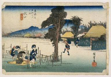 Utagawa Hiroshige (Ando) (Japanese, 1797-1858). <em>Minakuchi: Famous Dried Gourd, from the series Fifty-three Stations of the Tōkaidō Road</em>, ca. 1833-1834. Color woodblock print on paper, Sheet: 9 5/8 x 14 1/16 in. (24.5 x 35.7 cm). Brooklyn Museum, Gift of Dr. Eleanor Z. Wallace in memory of her husband, Dr. Stanley L. Wallace, 1993.201.1 (Photo: Brooklyn Museum, 1993.201.1_print_IMLS_SL2.jpg)