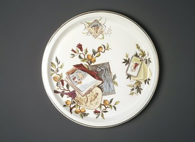 <em>Tray; Pomegranate Pattern (from Complete Tea Service)</em>, ca. 1880. Glazed earthenware with transfer printed decoration, height: 7/8 in. (2.2 cm). Brooklyn Museum, Gift of Paul F. Walter, 1993.209.94. Creative Commons-BY (Photo: Brooklyn Museum, 1993.209.94_transp533.jpg)