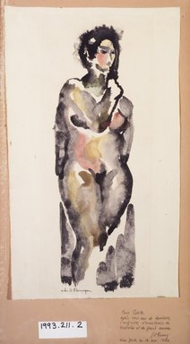 John B. Flannagan (American, 1895-1942). <em>Female Nude</em>, 1910-1942. Watercolor and ink washes over graphite on paper, Sheet (irregular): 18 1/8 x 10 13/16 in. (46 x 27.4 cm). Brooklyn Museum, Gift in memory of Mr. and Mrs. H. Lawrence Herring, 1993.211.2 (Photo: Brooklyn Museum, 1993.211.2_transp534.jpg)