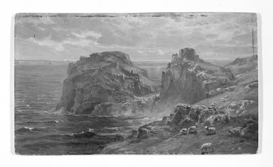 William Trost Richards (American, 1833-1905). <em>Tintagel Castle, Birthplace of King Arthur</em>, after 1891. Oil on laminated paperboard, 5 3/8 x 9 in. (13.7 x 22.9 cm). Brooklyn Museum, Gift of Edith Ballinger Price, 1993.212.1 (Photo: Brooklyn Museum, 1993.212.1_bw.jpg)