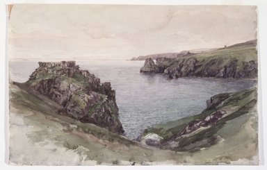 William Trost Richards (American, 1833-1905). <em>Cornwall</em>, 1878-1880. Opaque watercolor on paper, Sheet: 8 1/16 x 12 5/16 in. (20.5 x 31.3 cm). Brooklyn Museum, Gift of Edith Ballinger Price, 1993.212.3 (Photo: Brooklyn Museum, 1993.212.3_transp3360.jpg)