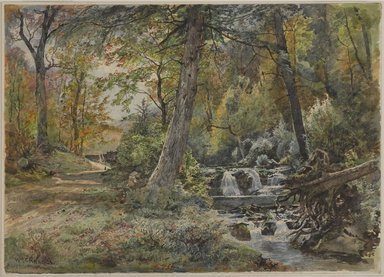 William Trost Richards (American, 1833-1905). <em>Landscape with Stream and Road, Chester County</em>, ca. 1886. Watercolor over graphite on off-white, moderately thick, moderately textured wove paper, 10 x 13 15/16 in. (25.4 x 35.4cm). Brooklyn Museum, Gift of Edith Ballinger Price, 1993.212.4 (Photo: , 1993.212.4_PS9.jpg)
