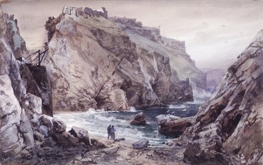 William Trost Richards (American, 1833-1905). <em>Seascape with Two Figures: Tintagel, Cornwall, England</em>, 1878-1880. Watercolor over graphite on paper, 6 1/2 x 10 in. (16.5 x 25.4 cm). Brooklyn Museum, Gift of Edith Ballinger Price, 1993.212.7 (Photo: Brooklyn Museum, 1993.212.7_transp3364_cropped.jpg)