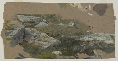 William Trost Richards (American, 1833-1905). <em>Study of Rocks</em>, 1870s-1880s. Watercolor on heavy brown paper, 7 3/8 x 14 3/16 in. (18.7 x 36 cm) (uneven). Brooklyn Museum, Gift of Edith Ballinger Price, 1993.212.8 (Photo: , 1993.212.8_PS9.jpg)