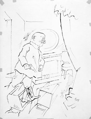 "George Grosz (American, born Germany, 1893-1959). <em>The Scientist (recto) and The General (verso)</em>, 1921. Ink on paper, approx.: 24 x 18"". Brooklyn Museum, Gift of Dr. and Mrs. Theodore Kamholtz, 1993.221a-b (Photo: Brooklyn Museum, 1993.221b_bw.jpg)"