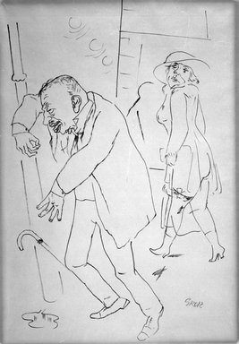 George Grosz (American, born Germany, 1893-1959). <em>Betrunkener (Drunk)</em>, ca. 1922. Ink, 23 x 16 in. (58.4 x 40.6 cm). Brooklyn Museum, Gift of Dr. and Mrs. George Liberman, 1993.222.2 (Photo: Brooklyn Museum, 1993.222.2_bw.jpg)