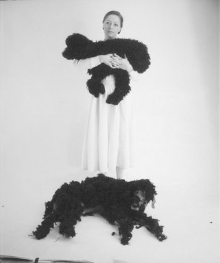 William Wegman (American, born 1943). <em>Britta with Poodle and Man Ray</em>, 1981. Dye diffusion photograph (Polaroid), image: 24 2/3 x 20 1/2 in. (63.3 x 52.0 cm). Brooklyn Museum, Gift of Laurie Jewell and Owen Morrell, 1993.228.2. © artist or artist's estate (Photo: Brooklyn Museum, 1993.228.2.jpg)