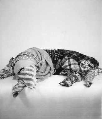 William Wegman (American, born 1943). <em>Remnants</em>, 1979. Dye diffusion photograph (Polaroid), image: 24 x 21 in. (61.0 x 52.0 cm). Brooklyn Museum, Gift of Laurie Jewell and Owen Morrell, 1993.228.3. © artist or artist's estate (Photo: Brooklyn Museum, 1993.228.3.jpg)