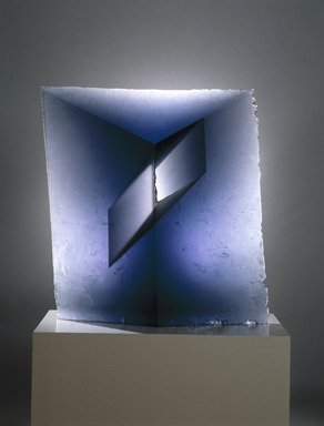 Jaroslava Brychtova (Czech, born 1924). <em>Spaces II</em>, 1991-92. Cast glass, 32 1/2 x 29 1/2 x 4 3/4 in., 200 lb. (82.6 x 74.9 x 12.1 cm, 90.72kg). Brooklyn Museum, Purchased with funds given by Phyllis and Dave Roth, Adele and Leonard Leight, and Julius Kramer in loving memory of their parents, Etta and James Markowitz, 1993.32. Creative Commons-BY (Photo: Brooklyn Museum, 1993.32_SL1.jpg)
