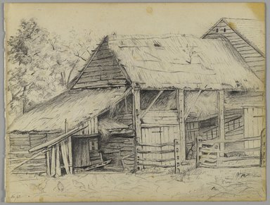 James L. Dick (American, 1834-1868). <em>Farmhouse in Brooklyn</em>, November 1863. Graphite on cream, medium-weight, smooth wove paper., Sheet: 6 7/8 x 9 in. (17.5 x 22.9 cm). Brooklyn Museum, Gift of Dr. Clark S. Marlor, 1993.38.4 (Photo: Brooklyn Museum, 1993.38.4_PS3.jpg)