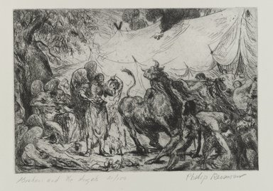 Philip Reisman (American, 1904-1992). <em>Abraham and the Angels</em>, 1927-1934. Etching on paper, sheet: 10 7/8 x 13 1/8 in. (27.7 x 33.3 cm). Brooklyn Museum, Gift of Louise Reisman, 1993.39.1. © artist or artist's estate (Photo: Brooklyn Museum, 1993.39.1_PS4.jpg)
