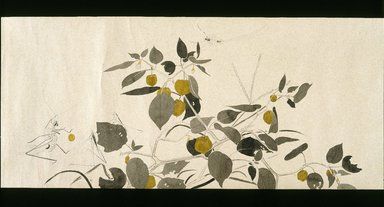 Kawakami Ryoka (Japanese, 1887-1921). <em>Wildlife Friends (Yasei no Tomo)</em>, ca. 1918. Ink, opaque watercolors and possibly lacquer on wove paper decorated with mica, 8 7/16 x 206 in. (21.4 x 523.2 cm). Brooklyn Museum, Purchased with funds given by Mr. and Mrs. Willard G. Clark and Helen Babbott Sanders Fund, 1993.4 (Photo: Brooklyn Museum, 1993.4_detail01_IMLS_SL2.jpg)