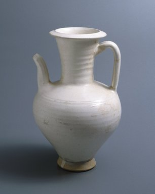 <em>Julu Xian Ewer</em>, early 12th century. Earthenware, white slip and transparent glaze, 10 x 6 3/8 in. (25.4 x 16.2 cm). Brooklyn Museum, Gift of the Asian Art Council, 1993.55. Creative Commons-BY (Photo: Brooklyn Museum, 1993.55_SL1.jpg)
