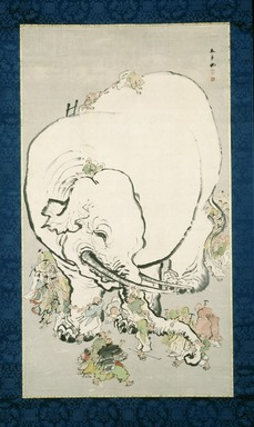 Ohara Donshu (Japanese, 1792-1857). <em>Blind Men Appraising an Elephant</em>, early 19th century. Ink and colors on paper, Overall: 92 x 46 1/2 in. (233.7 x 118.1 cm). Brooklyn Museum, Gift of the Asian Art Council, Mr. and Mrs. Willard G. Clark, Georgia and Michael de Havenon, Mr. and Mrs. Greg Fitz-Gerald, Dr. and Mrs. George Liberman, and Khalil Rizk and Frank L. Babbott Fund , 1993.57 (Photo: Brooklyn Museum, 1993.57_IMLS_SL2.jpg)