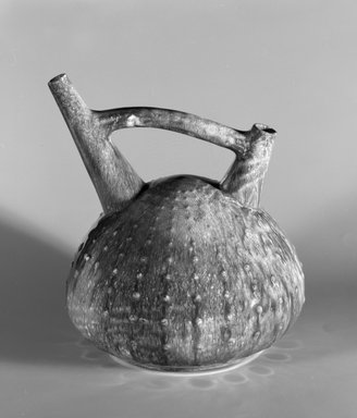 Christopher Dresser (English, 1834-1904). <em>Vessel</em>, ca. 1880. Glazed earthenware, 7 7/16 x 6 1/2 x 6 1/4 in.  (18.9 x 16.5 x 15.9 cm). Brooklyn Museum, Marie Bernice Bitzer Fund, 1993.7. Creative Commons-BY (Photo: Brooklyn Museum, 1993.7_bw.jpg)