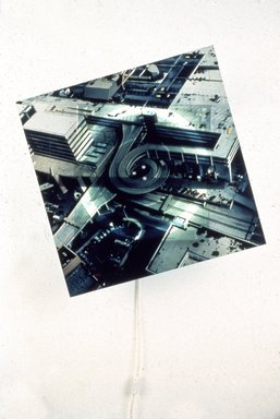 Jon Kessler (American, born 1957). <em>Over Stamford</em>, 1989. Photograph on Plexiglas, aluminum, fluorescent light bulb, motor, 9 1/2 in. (24.1 cm) depth. Brooklyn Museum, Gift of the artist, Luhring Augustine, New York, and Gallerie Max Hetzler, Cologne, 1993.80. © artist or artist's estate (Photo: Brooklyn Museum, 1993.80_slide_SL3.jpg)