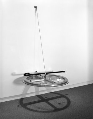 Andrew Topolski (American, 1952 - 2008). <em>The 9th Power/1967-93</em>, 1993. Aluminum, brass, wood cane, miscellaneous hardware, 84 x 36 in. (213.4 x 91.4 cm). Brooklyn Museum, Purchase gift of Sarah-Ann and Werner H. Kramarsky and gift of the artist, 1993.81. © artist or artist's estate (Photo: Brooklyn Museum, 1993.81_bw.jpg)