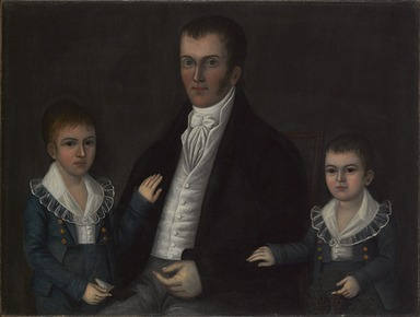 Joshua Johnson (active circa 1795-1825). <em>John Jacob Anderson and Sons, John and Edward</em>, ca. 1812-1815. Oil on canvas, 30 1/8 x 39 11/16 in. (76.5 x 100.8 cm). Brooklyn Museum, Dick S. Ramsay Fund and Mary Smith Dorward Fund, 1993.82 (Photo: Brooklyn Museum, 1993.82_PS9.jpg)