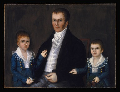 Joshua Johnson (active circa 1795-1825). <em>John Jacob Anderson and Sons, John and Edward</em>, ca. 1812-1815. Oil on canvas, 30 1/8 x 39 11/16 in. (76.5 x 100.8 cm). Brooklyn Museum, Dick S. Ramsay Fund and Mary Smith Dorward Fund, 1993.82 (Photo: Brooklyn Museum, 1993.82_SL1.jpg)