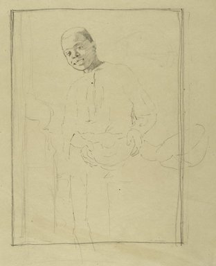 Thomas Hovenden (American, 1840-1895). <em>Study for I Know'd It Was Ripe</em>, ca. 1885. Graphite on tan wove paper, Sheet: 14 1/2 x 12 in. (36.8 x 30.5 cm). Brooklyn Museum, Gift of Martha J. Fleischman, 1993.85 (Photo: Brooklyn Museum, 1993.85_PS2.jpg)