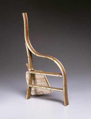 George Jacob Hunzinger (American, born Germany, 1835-1898). <em>Chair Patent Model</em>, patent submitted 7-5-1878; granted 1-1-1879. Wood, metal, 10 3/4 x 3/4 x 5 3/4 in. (27.3 x 1.9 x 14.6 cm). Brooklyn Museum, Marie Bernice Bitzer Fund, 1993.8. Creative Commons-BY (Photo: Brooklyn Museum, 1993.8_IMLS_SL2.jpg)