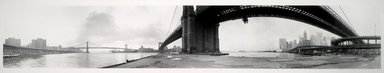 Kenneth Snelson (American, 1927-2016). <em>Brooklyn Bridge</em>, 1980. Gelatin silver photograph, 15 1/2 x 91 1/4 in. (39.4 x 231.8 cm). Brooklyn Museum, A. Augustus Healy Fund, 1993.97. © artist or artist's estate (Photo: Brooklyn Museum, 1993.97_PS1.jpg)
