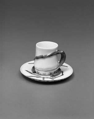 Theodore R. Davis. <em>Cup and Saucer</em>, Patented May 10, 1880. Porcelain, (a) Cup: 2 1/2 x 2 7/8 x 2 1/8 in. (6.4 x 7.3 x 5.4 cm). Brooklyn Museum, H. Randolph Lever Fund, 1994.106a-b. Creative Commons-BY (Photo: Brooklyn Museum, 1994.106a-b_bw.jpg)