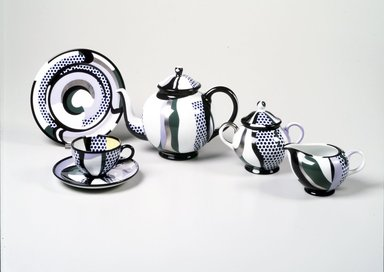 Roy Lichtenstein (American, 1923-1997). <em>Sugar Bowl and Lid</em>, 1984. Porcelain, 5 1/4 x 6 3/8 x 4 3/8 in. (13.3 x 16.2 x 11.1 cm). Brooklyn Museum, H. Randolph Lever Fund, 1994.107.2a-b. Creative Commons-BY (Photo: , 1994.107.1-.5_transp552.jpg)