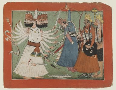 Indian. <em>Ravana Challenges Rama's Army</em>, ca. 1750. Opaque watercolor on paper, sheet: 6 1/8 x 7 3/4 in.  (15.6 x 19.7 cm). Brooklyn Museum, Gift of Dr. Bertram H. Schaffner, 1994.11.1 (Photo: Brooklyn Museum, 1994.11.1_IMLS_PS4.jpg)