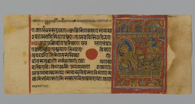 <em>Page 15 from a Manuscript of the Kalpasutra: recto image of Devananda with Harinegamesin, verso image of Queen Trishala with Harinegamesin</em>, 1472. Opaque watercolor and ink on gold leaf on paper, sheet: height: 4 3/8 in. Brooklyn Museum, Gift of Dr. Bertram H. Schaffner, 1994.11.23 (Photo: Brooklyn Museum, 1994.11.23_recto_PS2.jpg)