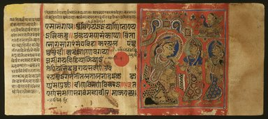 <em>Page 37 from a manuscript of the Kalpasutra: recto image of Trishala's grief, verso text</em>, 1472. Opaque watercolor and ink on gold leaf on paper, sheet: height: 4 3/8 in. Brooklyn Museum, Gift of Dr. Bertram H. Schaffner, 1994.11.45 (Photo: Brooklyn Museum, 1994.11.45_IMLS_SL2.jpg)