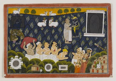 <em>Worship of Krishna</em>, ca. 1800. Opaque watercolor on paper, 6 5/8 x 9 3/4 in. Brooklyn Museum, Gift of Dr. Bertram H. Schaffner, 1994.11.6 (Photo: Brooklyn Museum, 1994.11.6_IMLS_PS4.jpg)